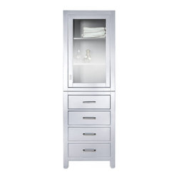 """Avanity Corporation - 24 Inch Linen Cabinet in White - The Modero 24 in. linen tower has a simple clean design with a white finish and brushed nickle hardware.  It is constructed of solid birch wood and veneer construction with soft-close doors and drawers that showcase its quality.  The linen tower offers a clear glass door with interior shelves and soft-close drawers for storage. Dimensions: 24""""W X 20""""D X 71""""H; Features: 1 Door, 4 Drawers, 1 Interior Shelf; Soft Close Hinges; Finish: White; Hardware: Brushed Nickel; Assembly: Fully Assembled"""