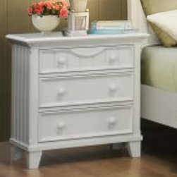 Homelegance - Homelegance Alyssa 3 Drawer Nightstand in White - The Alyssa Collection is a quaint addition to your home. Cottage styling features molding and paneling with coordinating knob drawer pulls. The functional accent of ball bearing drawer glides on each drawer lend support and ease of effort. The crescent shape design feature that accents the headboard and drawer fronts pulls the look together resulting in a casual feel that will fit your cottage motif. - 2136W-4.  Product features: Alyssa Collection; White Finish; Dovetailed Drawers; Ball Bearing Glide; Cottage styling; Coordinating knob drawer pulls; Crescent shape design; 3 Drawers. Product includes: Nightstand (1). 3 Drawer Nightstand in White belongs to Alyssa Collection by Homelegance.