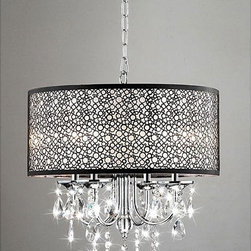 Indoor Crystal/Chrome/Metal Bubble Shade 4-Light Chandelier - This Indoor Crystal/Chrome/Metal Bubble Shade 4-Light Chandelier with a clear crystal and metal bubble shade adds elegance to this lighting fixture and coalesces style with elegance. This indoor 4-light chandelier features a chrome finish with an antique bronze shade.