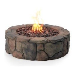 Red Ember 36 in. Clarksville Propane Campfire Fire Pit - Recreate childhood memories of cozying up by a campfire right in your own backyard with the Red Ember 36 in. Clarksville Propane Campfire Fire Pit. This fire pit looks like authentic stacked rock yet is made from durable Envirostone which is a blend of resin and marble. It comes complete with a 50 000 BTU burner variable heat control electronic ignition tank stand and lava rock. All you need is the liquid propane and friends to gather round. About Red EmberAt the center of any good outdoor gathering is a fire. At the center of a fire a Red Ember. We make fire products designed to bring people together. Red Ember products harness the age-old power of fire to comfort heat cook and enchant. Our experience and expertise in the industry allow us to provide added features and extras without burning a hole in your pocket. It's not about spending a lot of money - it's about lighting a fire. Get together and gather 'round a Red Ember.