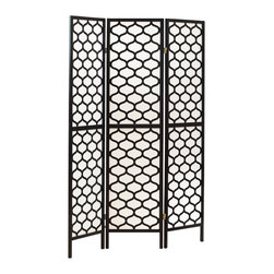 Monarch Specialties - Monarch Specialties 4639 Folding Screen in Black Frame Lantern Design - A hand constructed screen with gold honeycomb cut overlays with a tightly woven rice paper screen. Tight weave allows little light to pass through, as well as reinforces the kiln-dried wood frames, creating a portable but sturdy screen. Use as a partition, privacy screen or decorative background in the home or office.