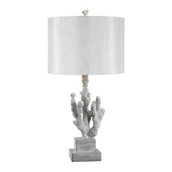 Kenroy Home - Coral Table Lamp - Requires one 150 watt medium base type bulb. E-26 aluminum silver socket. Painted resin finial and lamp body. 3-way socket switch. Felt pad installed on bottom. 60% cotton and 40% terylene fabric drum shade. Lead free wires. Cord length: 72 in.. UL listed. White color. Lamp body: 7.56 in. Dia. x 14.44 in. H. Finial: 2 in. Dia. x 2.13 in. H. Neck: 1 in. Dia. x 2 in. H. Shade: 14 in. Dia. x 10 in. H. Overall: 28 in. H (6.8 lbs.). Assembly InstructionsCool breezes and warm reefs come to mind in Corals organic shaped base. Beautifully textured, like the sea's natural jewelry, this lamp adds its chic sensibility to any design scheme.