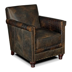 Hooker Furniture - 33.5 in. Club Chair - Upholstered seat and back. Brass nailhead trim. Made from wood and leather. Leather in old saddle fudge and crocodile color. Seat height: 19.75 in.. Arm height: 26.25 in.. Inside: 19.75 in. W x 21.5 in. D. Overall: 28.5 in. W x 33.5 in. D x 34 in. H