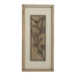 Benzara - Modern and Classic Style Wood Metal Fabric Plaque Home Decor - Description: