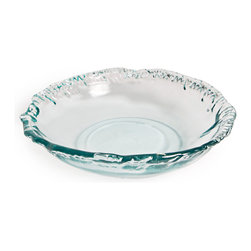 Danya B. - Artisan Recycled Glass Shallow Bowl - Set your table with modern elegance when you employ this contemporary, rippled-edge glass bowl as your centerpiece. Filled with fruit, salad or punch, it will be a sophisticated addition to your table or buffet.