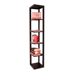 Khome - KHOME CHERRY FINISH WOOD WALL CORNER 5 TIERS SHELVES BOOKSHELF CASE - Made of MDF, in Cherry finish.