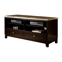 Steve Silver Furniture - Steve Silver Monarch TV Stand - Monarch TV stand belongs to Monarch collection by Steve Silver with a beautiful marble top the Monarch TV cabinet provides a classy refined look to any living room. Two rows of open shelving and two drawers allow storage for all of your media components which makes this piece as functional as it is stylish.