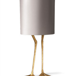 Duck Feet Lamp - Decayed Gold - This cheeky table lamp oozes with character and style due to the juxtaposition of relaxed pose duck legs with the sleek satin shade.
