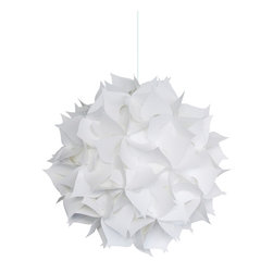 Akari Lanterns - Deluxe Spades Swag Plug in Light Fixture - Cool white glow - Deluxe Spades Hanging Pendant Light - Cool white glow