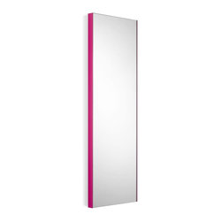 WS Bath Collections - Wall Mount Mirror with Fuchsia Frame - Modern/ contemporary design. 5 years silvering guaranteed. Warranty: 1 year. Made of glass mirror with powder coated aluminum. Made in Italy. 12.8 in. W x 39.4 in. H (20 lbs.). Spec SheetLinea; washbasins, washstands, and bathroom furniture, of various sizes and materials. Pureness of glass, polish of steel, and warmth of wood. Perfection of lines, art, and harmony. Made by Lineabeta of Italy to Highest Industry standards.