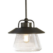 """allen + roth 12"""" Mission Bronze Pendant Light with Clear Shade"""