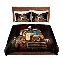 DiaNoche Designs - Duvet Cover Microfiber by Lisa K Stokes - Old School Cowgirl - DiaNoche Designs works with artists from around the world to bring unique, artistic products to decorate all aspects of your home.  Super lightweight and extremely soft Premium Microfiber Duvet Cover (only) in sizes Twin, Queen, King.  Shams NOT included.  This duvet is designed to wash upon arrival for maximum softness.   Each duvet starts by looming the fabric and cutting to the size ordered.  The Image is printed and your Duvet Cover is meticulously sewn together with ties in each corner and a hidden zip closure.  All in the USA!!  Poly microfiber top and underside.  Dye Sublimation printing permanently adheres the ink to the material for long life and durability.  Machine Washable cold with light detergent and dry on low.  Product may vary slightly from image.  Shams not included.