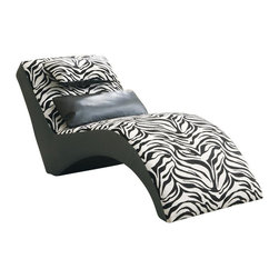 Coaster - Coaster Accent Seating Modern Zebra Print Furniture Chaise - Coaster - Chaise Lounges - 550071 - Bringing a modern boldness and wild-side to a room this decorative styled accent chaise will complement homes with a contemporary style and a safari themed fabric. Upholstered in a zebra print chenille this bold attitude accent chaise features a curving silhouette with supportive cushions and an attached headrest. An accent pillow for lower back support is also included to create decoration and depth. A decorative piece with a bold style element this chaise complements modern contemporary and casual styled rooms.