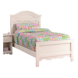 South Shore - South Shore Summer Breeze Twin Panel Bed in White Wash - South Shore - Beds - 3210A3 - The large detailed moldings of the South Shore Summer Breeze Twin Panel Bed give the room a traditional and feminine look. The upper ends of the footboard are rounded for increased safety. The complete bed, available in a White Wash finish, includes a headboard, a bed frame and a footboard. It matches perfectly with the rest of the Summer Breeze collection in White Wash finish.