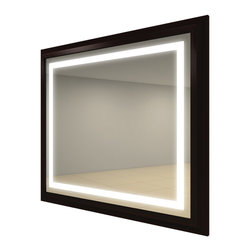 Electric Mirror - Momentum Square Lighted Mirror - Momentum Square framed lighted mirror with defogger is available in espresso, beachwood, cherry, or walnut frame finishes. Momentum Mirror also available in six different sizes. Four 39-watt, 120 volt T5HO fluorescent bulbs are included. Dimensions: 47W x 47H x 2.5D.