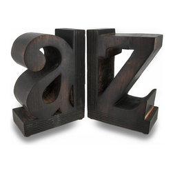 Zeckos - Set of Decorative A to Z Carved Solid Wood Bookends - Keep your paperbacks and favorite books in check with this pair of solid wood A to Z bookends This distressed finish set of bookends looks quite smart on table tops, shelves and bookcases and are perfect for your home, library or office, and are a great addition in nurseries and children's rooms. Each 8.5 inch high, 6 inch long, 3.5 inch wide (22 x 15 x 9 cm) bookend is finished in a dark stain with foam pads on the bottom to help protect display surfaces from scratches. This set of 2 A to Z bookends makes a wonderful gift for an avid reader or book collector sure to be admired.
