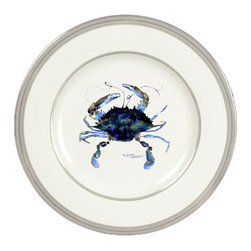 Caroline's Treasures - Female Blue Crab Ceramic Dinner Plate Round Platinum Rim - Heavy Round Ceramic Plate with Platinum Rim 10 1/2  inches.  LEAD FREE and diswasher safe.  The plate has been refired over 1600 degrees and the artwork will not fade or crack. Made by Caroline's Treasure in Mobile, AL