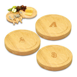 Picnic Time - Circo MLB National League Cheese Board Set - The Circo by Picnic Time swivels open to reveal four stainless steel cheese tools. The spirited baseball-inspired board also features recessed moat along the board's edge to catch cheese brine or juice from cut fruit.