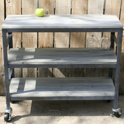 Real Industrial Edge Furniture llc - Industrial kitchen cart, wine cart - This is a rolling kitchen cart