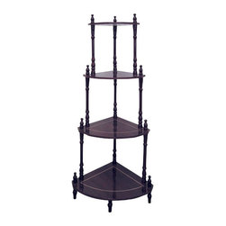 ORE International - Cherry 4-Tier Corner Stand - Display your attractive collection of knick-knacks on this beautiful corner stand. The perfect addition to any living room or home decor, this stand can be used for showing off interesting items from trips to foreign countries, or mementos from loved ones. Put it in your living room as a decorative etagere, or in a dining room as a serving shelf. This corner stand will complement any of your existing home decor with its durable wood construction and stylish design. You will surely appreciate the superb quality of this living room furniture.