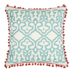 Blissliving Home - Leena Pillow, Set of 2 - Cotton and silk make a dynamic duo on this pair of pillows — the perfect accents for your favorite setting. Coral-colored mini pom-poms make an eye-catching trim and, if you wish, the pillows are reversible to a matching solid of pure silk dupioni.