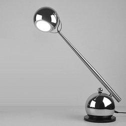 Modern Metal LED Table Lamp in Chrome Finish -