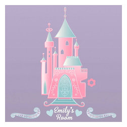 York Wallcoverings - Pink Disney Princess Castle Wall Accent Decal with Alphabet - Features: