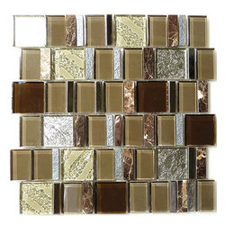 "Euro Glass - Cultural Sienna Unique Shapes Brown Metal and Stone Glossy Glass Stone and Metal - Sheet size: 11 5/8"" x 11 1/2"""