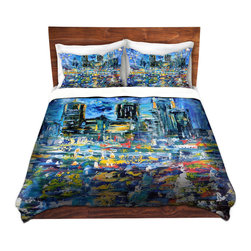 DiaNoche Designs - Duvet Cover Microfiber - Starry Night - DiaNoche Designs works with artists from around the world to bring unique, artistic products to decorate all aspects of your home.  Super lightweight and extremely soft Premium Microfiber Duvet Cover (only) in sizes Twin, Queen, King.  Shams NOT included.  This duvet is designed to wash upon arrival for maximum softness.   Each duvet starts by looming the fabric and cutting to the size ordered.  The Image is printed and your Duvet Cover is meticulously sewn together with ties in each corner and a hidden zip closure.  All in the USA!!  Poly microfiber top and underside.  Dye Sublimation printing permanently adheres the ink to the material for long life and durability.  Machine Washable cold with light detergent and dry on low.  Product may vary slightly from image.  Shams not included.