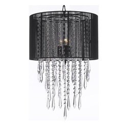 """Crystal Chandelier Empress Crytal (TM) Chandeliers with Large Black Shades - This beautiful Chandelier is trimmed with Empress Crystal (TM) 100% Crystal Chandelier. A Great European Tradition. Nothing is quite as elegant as the fine Crystal Chandeliers that gave sparkle to brilliant evenings at palaces and manor houses across Europe. This beautiful Chandelier has 3 lights and is decorated and draped with 100% Crystal that capture and reflect the light of the candle bulbs. This wonderful Chandelier also comes with the large shade as shown. The timeless elegance of this Chandelier is sure to lend a special atmosphere anywhere its placed! **SHADE INCLUDED** W15"""" H24"""" 3 LIGHTS . Item must be hardwired. Professional installation is recommended.Requires (3) 40 watt bulbs -not included. This item also works with energy efficient bulbs, halogen bulbs, compact fluorescent bulbs, LED bulbs etc (not included)."""