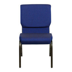 """Flash Furniture - Hercules 18.5"""" Wide Navy Blue Dot Patterned Stacking Church Chair - This Hercules Series Church Chair will add elegance and class to any Church, Hotel, Banquet Room or Conference setting. If you are looking for a chair with comfort and style that is easy to move and stores away with ease, then look no further. This built to last chair has a 16-gauge steel frame that has been tested to hold 600 lbs. This church chair features double support bracing, ganging clamps, a cushion that graduates to a 4.25 in.  thick waterfall edge and plastic floor glides to protect non-carpeted floors. Our church chair is manufactured by one of the most reputable stack chair manufacturers in the industry, you can be assured of the quality of this chair offered to you."""