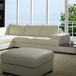 High End Tufted Leather Sectional with Chaise - Dimensions: