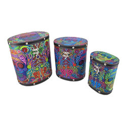 Zeckos - Set Of 3 Day of the Dead Sugar Skull Themed Tall Oval Shaped Boxes - These tall oval boxes provide a little extra storage space and add a fun accent to your home. They are perfect for storing small keepsakes, craft and hobby supplies, and collections of small items in an attractive way, so you don't have to hide the boxes in a closet. The boxes are made of wood and covered with a canvas material that features colorful Day of the Dead sugar skull graphics. The lids are hinged and have clasps to secure them. The largest box measures 8 1/2 inches tall, 7 1/2 inches long, 6 1/4 inches wide, the middle one is 7 1/4 inches tall, 6 1/4 inches long, 5 inches wide, and the smallest measures 6 inches tall, 4 1/2 inches long, 3 1/4 inches wide. They nest for storage purposes, and look great stacked in the corner of a room or on a table or shelf.