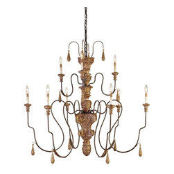 Currey and Company - Currey and Company 9324 Mansion Traditional Chandelier - Medium - Real wood, hand carved, is the hallmark of this distinctive chandelier. The hand applied finish combined with the this natural material gives this piece a richness and depth that can be achieved in no other way. Also available in two other sizes and a matching Wall Sconce.