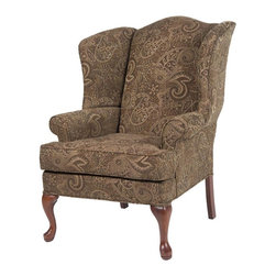Comfort Pointe - Paisley Coco Wing Back Chair - Solid hardwood frame ensures long lasting durability. No Assembly Required. Drop-In Coil system for a more comfortable seat. Seat Cushion is wrapped in Dacron which is soft polyester fibers for better quality and comfort. Foam density is 1.8. Complete with welting on all seams and double welting above the front legs.. Fabric: Paisley design fabrics are extra plush chenille. Fabric Content: 75% Rayon and 25% Polyester. Finish: Cherry Finish. Seat: 20 in. W x 19.5 in. D x 19.5 in. H. Arm Height: 24.5 inches. 28 in. W x 35 in. D x 42 in. H (45 lbs.). Made in U.S.A.The Paisley Coco chair is proudly handcrafted in the USA and offers a solid hardwood frame, drop-in coil suspension system which offers superior comfort and stability, and welting on all seams.  The paisley design fabric is an extra plush chenille that just feels great.  You'll enjoy sitting in the chair for hours at a time.