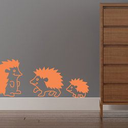 Cherry Walls - Happy Lil Hedgehogs Decals - Come play with these spunky — and spiky — animal friends! Three adorable hedgehog wall decals add a big dose of fun to the nursery or bedroom. Let your sassy style shine bright with a hedgehog-themed room, or simply include them in a precious menagerie of stuffed toys and animal accent pieces.