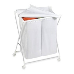 Honey-can-do - Honey-Can-Do Steel Folding Double Hamper in White - Tackle your laundry duties with ease using this folding double hamper with smooth rolling casters. It comes with a sturdy steel frame, flip-top cloth lid to conceal dirty clothes and two bins for sorting whites from colors.