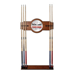 Trademark Global - Wood Wall Billiard Cue Rack w 4 Aces Logo Mir - Cue sticks not included. 8 Cue capacity. Furniture grade look. 2 pc. Medium oak veneered wood cue rack. 10 in. Dia. full color logo mirror. 30 in. L x 13 in. W x 4 in. H (15 lbs.)This Four Aces Wood/Mirror Wall Cue Rack will fit in the decor of your billiard room.