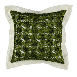 "Brandi Renee Designs - Mono-tone Ivory with Crushed Border with Green Overlay Pillow 18"" Square - Our stylish golden pillow is designed with glorious bronze flowers with a back splash of white on each side and a sheer glow of pure white along the border of the pillow."