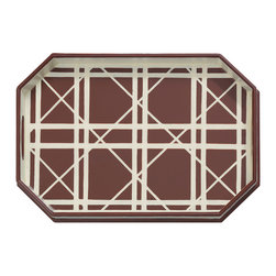 "Port 68 - Gazebo Brown Tray - The Gazebo tray makes a graphic statement with its fresh take on a classic lattice pattern. Painted in brown and cream, its unique shape stands out on a coffee table or a sideboard. 19.5""W x 13.5""D x 2.5""H; Wood; Felt lined bottom"
