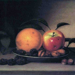 "Raphaelle Peale Fruits and Nuts in a Dish - 16"" x 24"" Premium Archival Print - 16"" x 24"" Raphaelle Peale Fruits and Nuts in a Dish premium archival print reproduced to meet museum quality standards. Our museum quality archival prints are produced using high-precision print technology for a more accurate reproduction printed on high quality, heavyweight matte presentation paper with fade-resistant, archival inks. Our progressive business model allows us to offer works of art to you at the best wholesale pricing, significantly less than art gallery prices, affordable to all. This line of artwork is produced with extra white border space (if you choose to have it framed, for your framer to work with to frame properly or utilize a larger mat and/or frame).  We present a comprehensive collection of exceptional art reproductions byRaphaelle Peale."