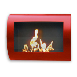 Anywhere Fireplace - Chelsea 90212 - Wall-Mounted Bio-ethanol Fireplace | Anywhere - Anywhere Fireplace Chelsea Red 90212 Bio-Ethanol Fireplace features contemporary design using eco-friendly bio-ethanol fuel. Comes in a red finish.This wall mount, gracefully curved�_Chelsea�_model of the�_Anywhere Fireplace™�_has sleek contemporary design that will make a statement in any room. It works with any d�_cor. The dancing flames you will have will create a warm, mellow, luxurious atmosphere. It will create a focal point of distinction in your living room, bedroom, family room, dining room… anywhere you wish to enjoy a fire. Easy to install on the wall and all mounting hardware is included. It uses liquid bio-ethanol fuel and gives of no smoke, soot, ash or ash. No installation, electric or gas connection needed. Its relatively small size makes it suitable for placement in a large number of places and it is very easy to move from one place to another. Never attempt to move the fireplace while lit, hot, or filled with fuel.It USES LIQUID ETHANOL FUEL made only for fireplaces. Never substitute any other fuel. Be sure to NOT confuse it with the bio-ethanol and other fuels sold for cars other none fireplace applications. �_ Manufacturer: Anywhere FireplaceMeasures: 28 in. width x 19 in. height x 6 in. depthFuel�_- ONLY�_Use liquid-bio-ethanol fuel - not included Location:�_Indoors/Outdoors