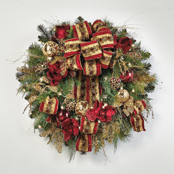 """Frontgate - Plaza Pre-decorated Christmas Wreath Christmas Decor - Arrives expertly assembled; may require some shaping after unpacking. Recommended for indoor use only. 36"""" cord. Check another item off your """"to-do"""" list by decking the halls with our gorgeous Plaza Decorative 32"""" Wreath. A full mix of lifelike evergreen boughs is generously embellished with a traditional palette of burgundy and gold ribbon, ornaments and festive accents, illuminated by clear incandescent lights.  .  .  ."""