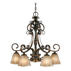 Golden Lighting - Golden Lighting 3890-D5-GB Meridian 5 Light Chandelier, Golden Bronze - Meridian 5 Light Nook Chandelier in the Golden Bronze finish