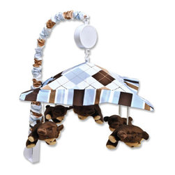 "Trend Lab - Mobile - Prep School Blue - Encourage eye tracking and sound perception skills with this Prep School Blue Musical Mobile by Trend Lab. Mobile canopy features an argyle print in sky blue, chocolate brown and caramel on a white background framed by a coordinating stripe print. Four stuffed bears are suspended from decorative white ribbon and slowly rotate to Brahms' Lullaby. Mobile easily attaches to most cribs. Mobile measures 18"" tall by 20"" wide. This mobile coordinates with the Prep School Blue collection."