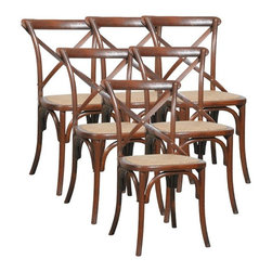 EuroLux Home - 6 Bentwood Dining Chairs Brown/Beige/Tan - Product Details