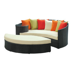 Taiji Outdoor Wicker Patio Daybed with Ottoman in Espresso with Multi Colored Cu