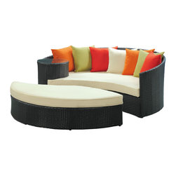 LexMod - Taiji Outdoor Wicker Patio Daybed with Ottoman in Espresso - Harmonize inverse elements with this radically pleasing daybed set. Seven plush throw pillows adorn Taiji's thick all weather orange cushions allowing for the splendorous blending of mediating elements. Find the key to attainment as you bask in a charged and unified landscape of expansiveness.