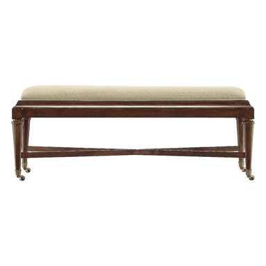 Stanley Furniture - Avalon Heights Nash Bed End Bench - Chelsea Finish - Provide a truly gorgeous focal point to the end of your bed with our Nash Bed End Bench. The streamlined silhouette is made all the more disarming by the addition of a seat upholstered in Chrome, a quilted pewter fabric. A simple x-shaped cross bar reflects a signature motif in Avalon Heights. Casters on the legs make for easy mobility, when you just feel like rearranging. Made to order in America.