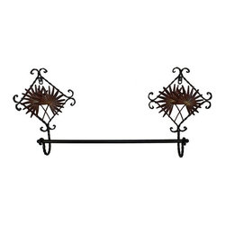 Metal Towel Rack - Decorative brown metal towel rack